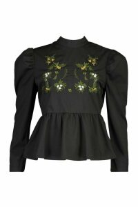 Womens Embroidered High Neck Puff Sleeve Peplum Top - black - 12, Black