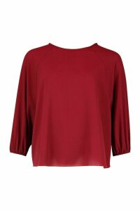Womens Batwing Sleeve Blouse - red - 12, Red