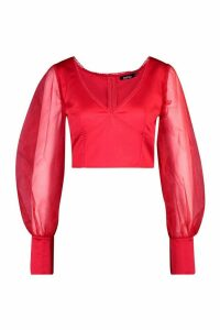 Womens Organza Blouson Sleeve Satin Crop Top - red - 16, Red