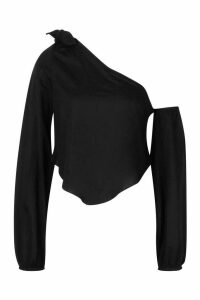 Womens Linen Knot Detail Balloon Sleeve Crop Top - black - 12, Black