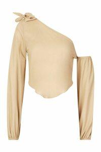 Womens Linen Knot Detail Balloon Sleeve Crop Top - beige - 10, Beige