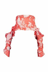 Womens Floral Print Bardot Frill Blouson Crop Top - red - 16, Red