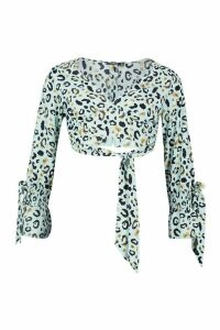 Womens Wrap Plunge Cuff Detail Leopard Top - blue - 14, Blue