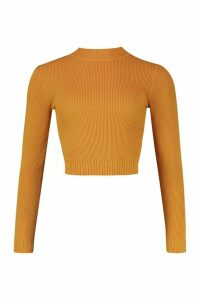 Womens roll/polo neck Knitted Crop Top - yellow - M, Yellow