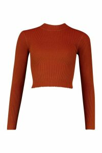 Womens roll/polo neck Knitted Crop Top - orange - M, Orange