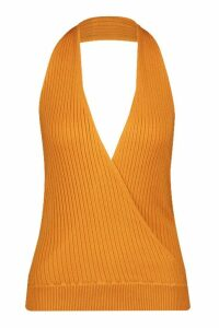 Womens Wrap Front Halterneck Knitted Top - yellow - S, Yellow
