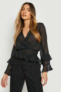 Womens Woven Chiffon Ruffle Detail Blouse - Black - 12, Black