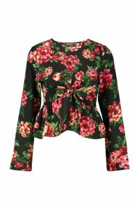 Womens Woven Floral Tie Front Blouse - black - 12, Black
