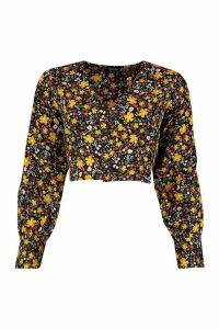Womens Ditsy Floral Button Blouse - black - 14, Black