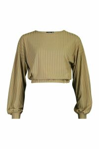 Womens Recycled Rib Balloon Sleeve Top - green - 16, Green