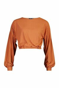 Womens Recycled Rib Balloon Sleeve Top - brown - 16, Brown