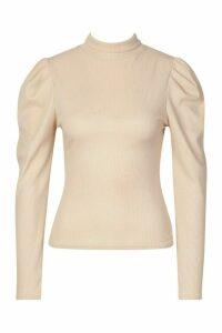 Womens Recycled High Neck Puff Sleeve Rib Top - beige - 26, Beige