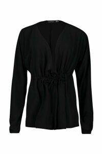 Womens Woven Crepe Drawstring Plunge Blouse - Black - 8, Black