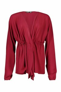 Womens Woven Crepe Drawstring Plunge Blouse - red - 10, Red