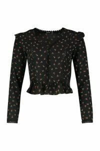 Womens Ditsy Rose Print Ruffle Detail Blouse - black - 6, Black
