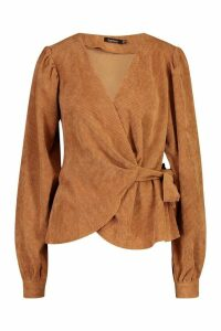 Womens Cord Wrap Puff Sleeve Top - beige - 8, Beige