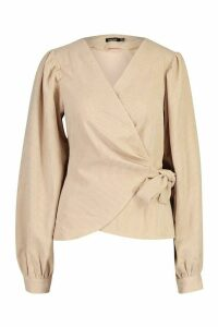 Womens Cord Wrap Puff Sleeve Top - beige - 14, Beige