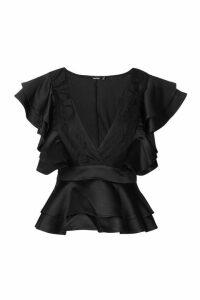 Womens Extreme Lace Ruffle Peplum Top - black - 8, Black