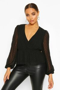 Womens Dobby Spot Wrap Peplum Top - Black - 12, Black