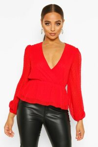 Womens Dobby Spot Wrap Peplum Top - Red - 12, Red