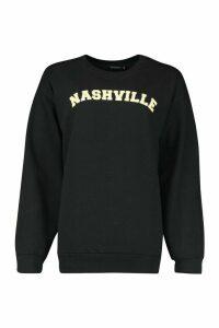Womens Nashville Slogan Print Sweatshirt - black - S, Black
