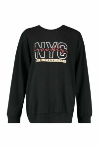 Womens NYC Brooklyn Slogan Print Sweatshirt - black - S, Black