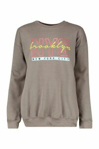 Womens NYC Brooklyn Slogan Print Sweatshirt - grey - L, Grey