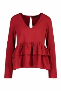 Womens Plunge Double Ruffle Smock Top - red - 12, Red