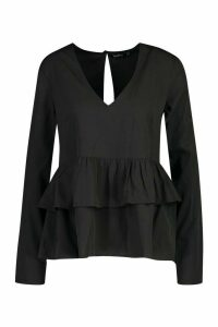 Womens Plunge Double Ruffle Smock Top - black - 14, Black