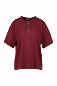 Womens Zip Detail Oversized T-Shirt - red - 8, Red