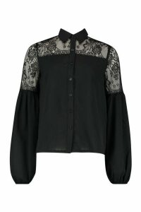 Womens Lace Panel Shirt - black - 10, Black