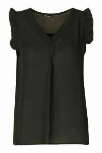 Womens Frill Detail Sleeveless Woven Blouse - black - 14, Black