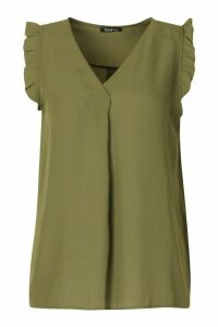 Womens Frill Detail Sleeveless Woven Blouse - green - 14, Green