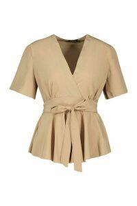 Womens Wrap Front Tie Back Blouse - beige - 14, Beige