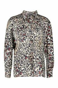 Womens Leopard Print Shirt - beige - 12, Beige