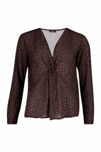 Womens Ditsy Print Knot Front Blouse - black - 14, Black