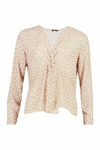 Womens Ditsy Print Knot Front Blouse - white - 10, White