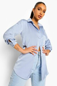 Womens Oversized Pocket Detail Satin Shirt - grey - 14, Grey