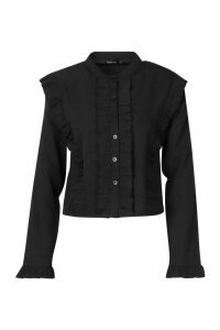 Womens Ruffle Long Sleeved Shirt - black - 14, Black