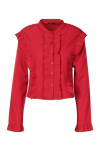 Womens Ruffle Long Sleeved Shirt - red - 12, Red