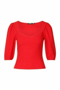 Womens Crepe Sweetheart Neck Puff Sleeve Top - red - 6, Red