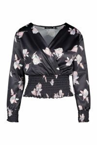 Womens Premium Satin Floral Shirred Waist And Cuff Wrap Blouse - black - 14, Black