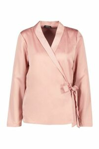 Womens Wrap Over Satin Blouse - pink - 14, Pink