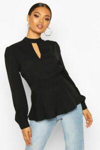 Womens Keyhole Detail Woven Blouse - Black - 8, Black
