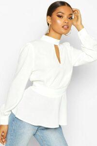 Womens Keyhole Detail Woven Blouse - white - 12, White