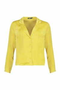 Womens Satin Shirt - yellow - 14, Yellow