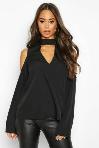 Womens Choker Plunge Cold Shoulder Top - black - 16, Black