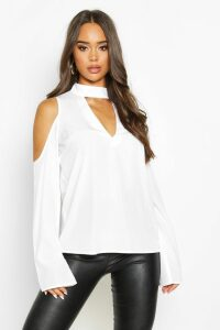 Womens Choker Plunge Cold Shoulder Top - white - 10, White