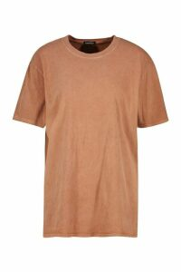 Womens Washed Effect T-Shirt - Orange - L, Orange