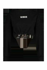 Womens Premium Cropped Ruched Hem Embroidered Sweatshirt - black - M, Black